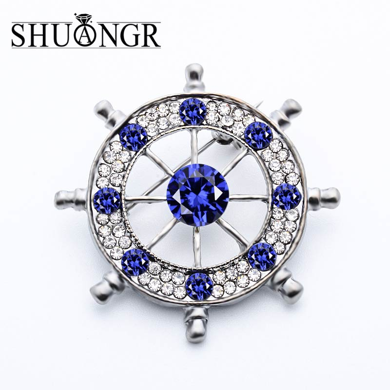 SHUANGR 1 Pc Vintage Crystal Brooches Pins Mens Accessories