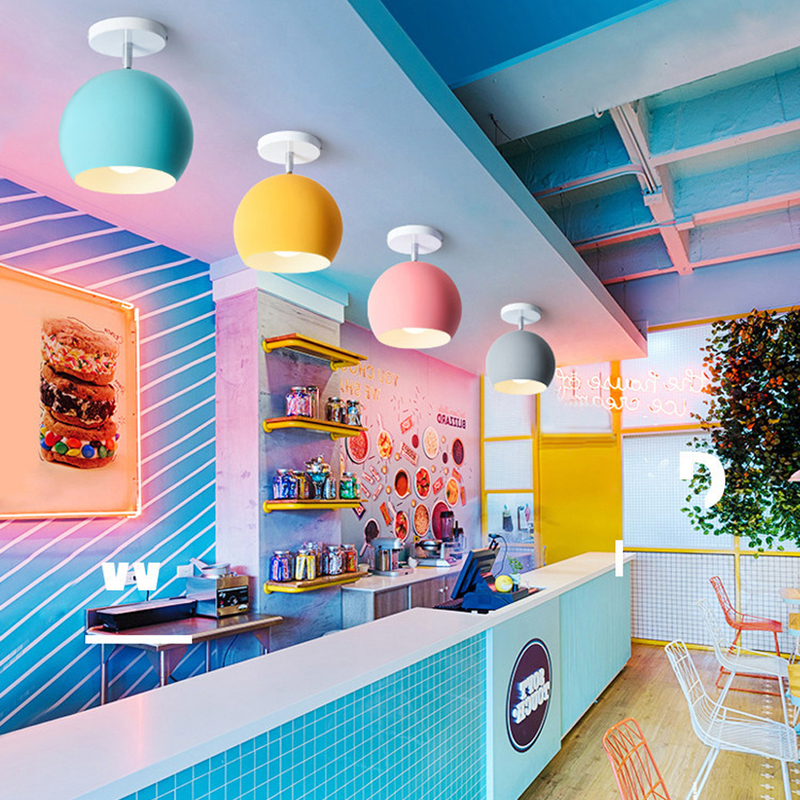 Creative Round E27 Macaron Ceiling Light Nordic Modern Led Ceiling Lamp For Living Room Bedroom Luminaire Porch Aisle Corridor