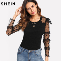 SHEIN Black Slim T Shirt Women Long Sleeve Elegant Womens Clothing Contrast Frilled Dot Mesh Sleeve