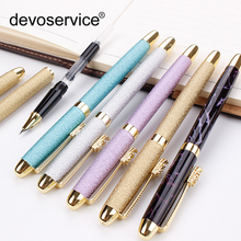 High Quality Fountain Pen Full Metal Golden Clip Luxury Frosted Pens 0.38mm Extremely Fine Stationery Office School Supplies