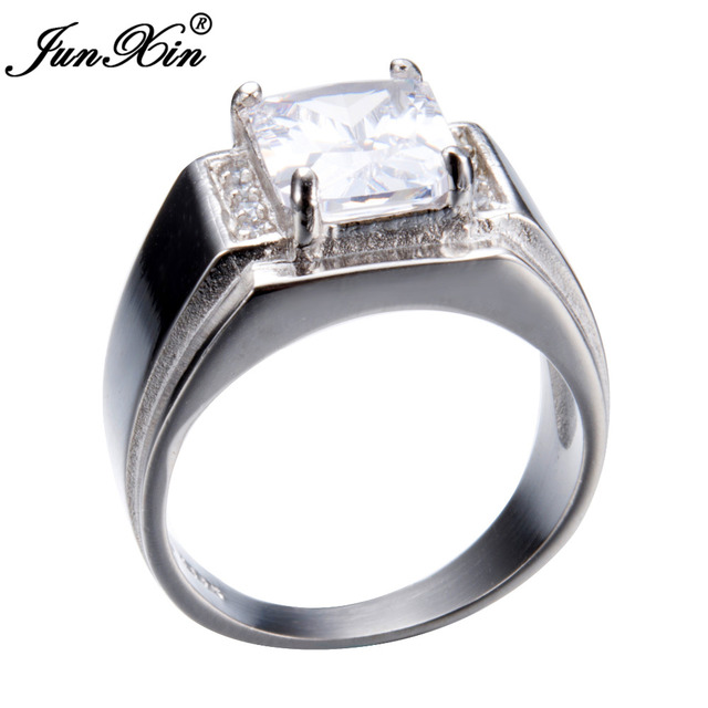 JUNXIN Luxury Male AAA White Zircon Finger Ring Fashion 925 Silver Rings For Men Vintage Wedding Engagement Ring Best Gifts