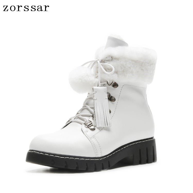 {Zorssar} 2018 New Women Boots winter shoes Genuine Leather lace up flat Ankle Martin Boots Warm Plush inside Women snow boots 2018 new autunm winter ankle short women boots flat heel lace up single martin boots shoes push warm flat shoes ladies zk 3 5
