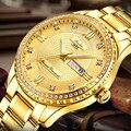 Большие Бриллиантовые роскошные мужские золотые мужские наручные часы из нержавеющей стали водонепроницаемые Бизнес часы Календарь Недел...