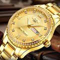 Big Diamond Luxury Men's Gold Watches Men Stainless Steel Waterproof Business Watch Calendar Week Quartz Clock relogio masculino