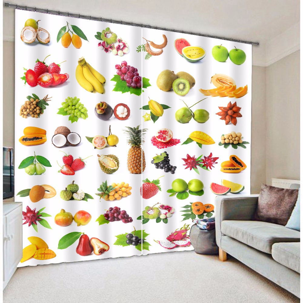 Fashion Coloful Fruits Design 3d Kitchen Curtains In Curtains From Home U0026  Garden On Aliexpress.com | Alibaba Group