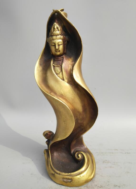 Collection archaize brass Guanyin bodhisattva Backflow incense burnerCollection archaize brass Guanyin bodhisattva Backflow incense burner