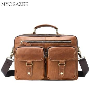 New Mens Leather Slant Bag Retro-cowhide Single Shoulder Handbag