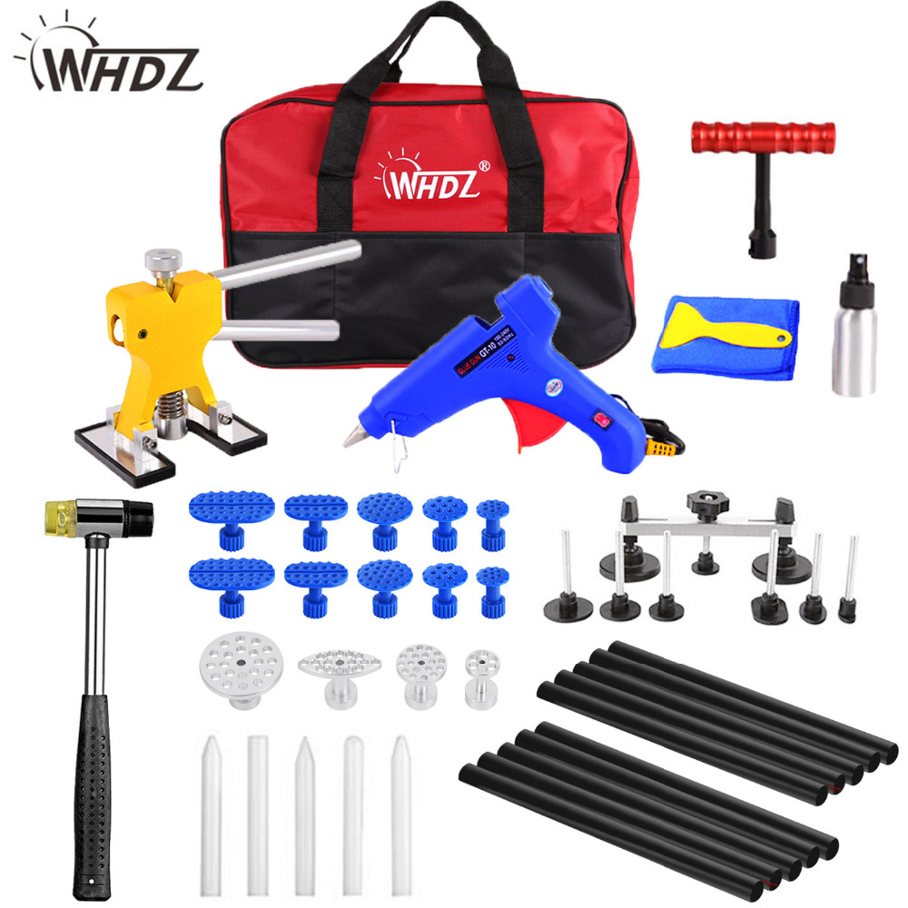 WHDZ PDR Kit Tools Car Paintless Dent Removal Dent Lifter Puller Hot Melt Glue Gun Pulling Bridge Rubber Hammer Dent Repair Tool