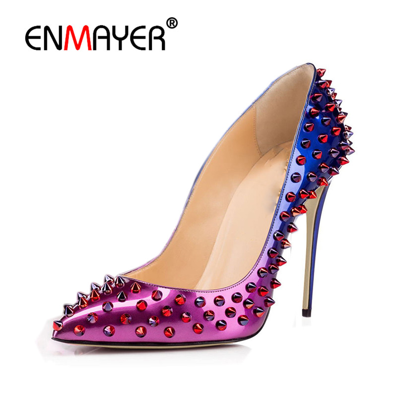 ENMAYER Sexy Supper High Heels Poined Toe Summer Pumps Shoes Woman Plus Size 35-46 Party Wedding Shoe Rivets Charms Womens Pumps enmayer pointed toe sexy black lace party wedding shoes woman high heels shallow pumps plus size 35 46 thin heels slip on pumps