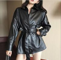 2019 Spring Autumn single breasted top blouse soft pu leather belted temperament women long sleeve shirt
