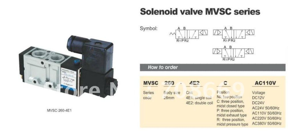 MVSC260-4E2C 24V DC 5Port 3Pos 1/4 BSP Solenoid Air Valve Dual Coil Led 10 pcs 4v220 08 dc 12v solenoid air valve 5port 2position