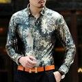 PNQ908 Long-sleeve shirt autumn new arrival flower shirt male slim commercial pleuche men's clothing casual top