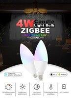 Zgbee zll led 4W RGB+CCT candle light bulb Lamp Smart Phone APP control AC100 240V E12/E14 work with Amazon Echo (Free shipping)