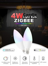 Zgbee zll led 4W RGB+CCT candle light bulb Lamp Smart Phone APP control AC100-240V E12/E14 work with Amazon Echo (Free shipping)
