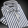 CAIZIYIJIA Summer 2017 Men's Vertical Stripe Short Sleeve Dress Shirts Lightweight Button-down Cotton Slim-Fit Brand Clothing