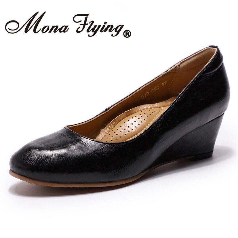 Mona Flying Women's Genuine Leather Wedge Pumps Round Toe Comfortable Crocodile embossed High Heel Dress Shoe for Ladies 078 CK2