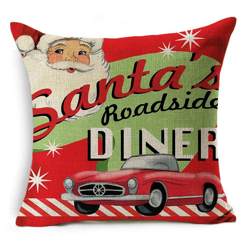 decorUhome Cartoon Pillow Cover Kids Christmas Santa Claus Snowman Cushion Cover Decorative Throw Pillow Case Sofa Home Decor