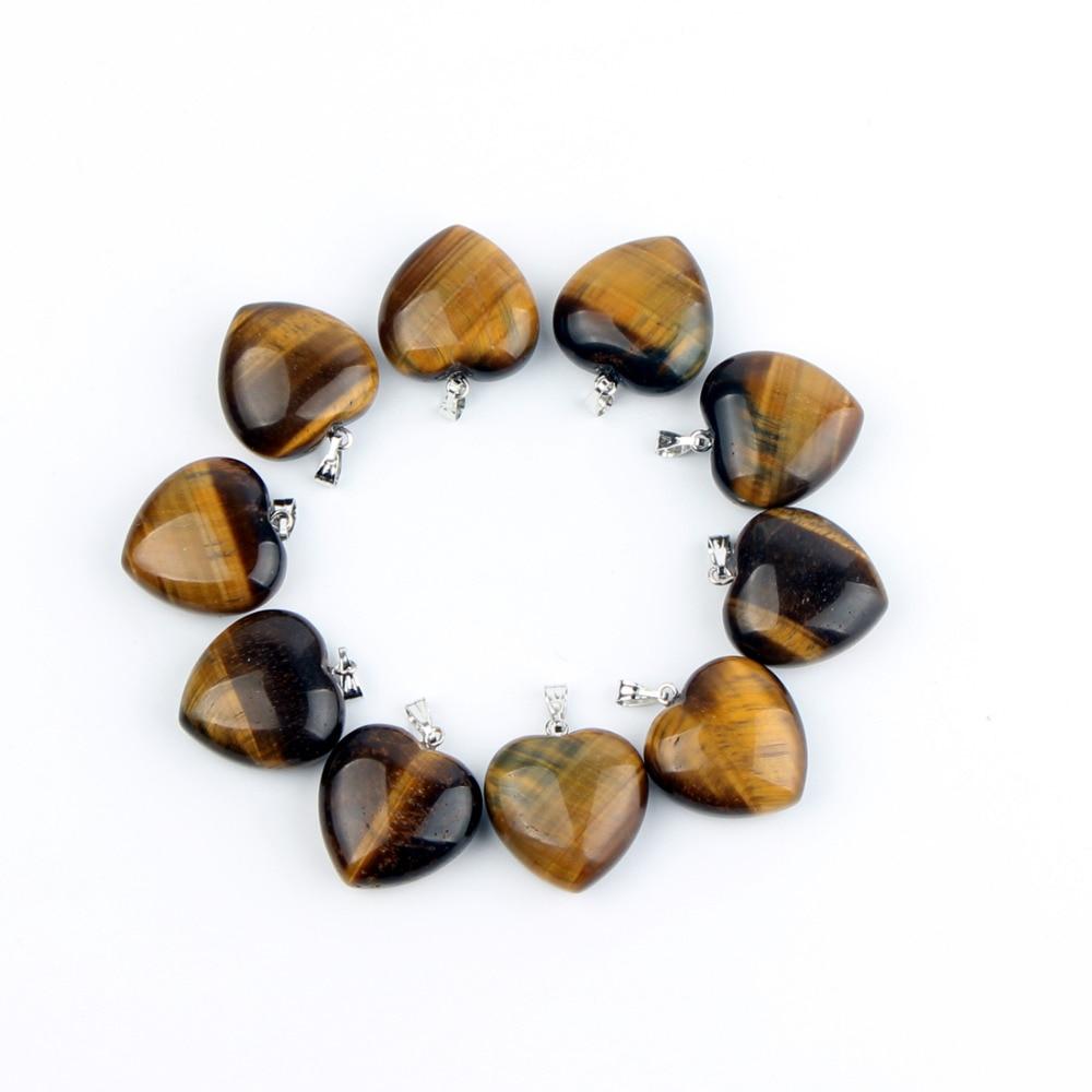 10 pc Rose Quartz Obsidian Liontin Jantung Untuk Anting-Anting atau - Perhiasan bagus - Foto 3