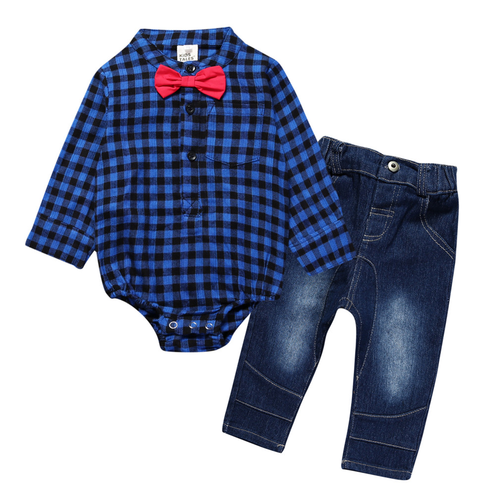 9e1346558 2018 Fashion Newborn signle breasted rompers +jeans bebes Baby boy ...