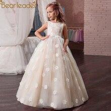 Bear Leader Girls Dress Sleeveless Lace Embroidery Flower Wedding Dress