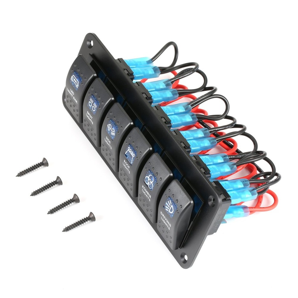 Waterproof Marine Boat Caravan RV Rocker <font><b>Switch</b></font> Panel LED Circuit Breaker 12V 6 Gang Overload Protection Anti-corrosion image