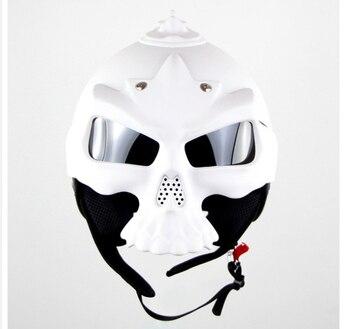 Free shipping 7 Color Dual Use Skull Motorcycle Helmet Capacete Casco Novelty Retro Casque Motorbike Helmet White