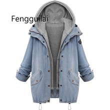 Coat Denim Jacket Loose Women Jackets Hooded Tops Cowboy Two Outwear Clothes Dropshipping