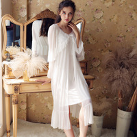 Autumn Sexy Lovely Willow Splice Long Sleeve Women Nightwear Beautiful Court Long Sleeping Skirt Sleepwear Women Sleep Wear