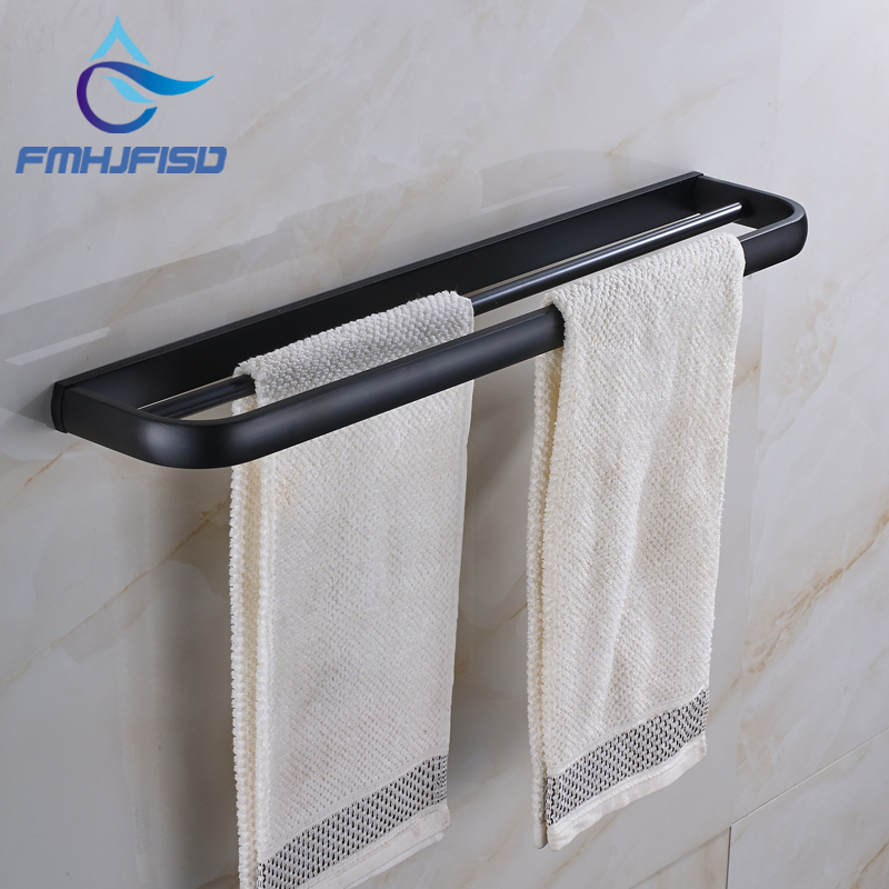 Free Shipping Oil Rubbed Bronze Bathroom Towel Bar Wall Mounted Double Towel Rack Bar luxury artistic towel bar single towel holder wall mounted bathroom towel rail rod oil rubbed bronze finish