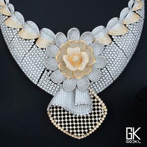 Image 5 - GODKI Luxury Sunflower African Lariat Jewelry Sets For Women Wedding Cubic Zircon Crystal CZ DUBAI Silver Bridal Jewelry Sets
