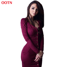 OOTN brief sheath solid button O-neck winter dresses women fashion long sleeve above knee mini dress  burgundy red  suede spring