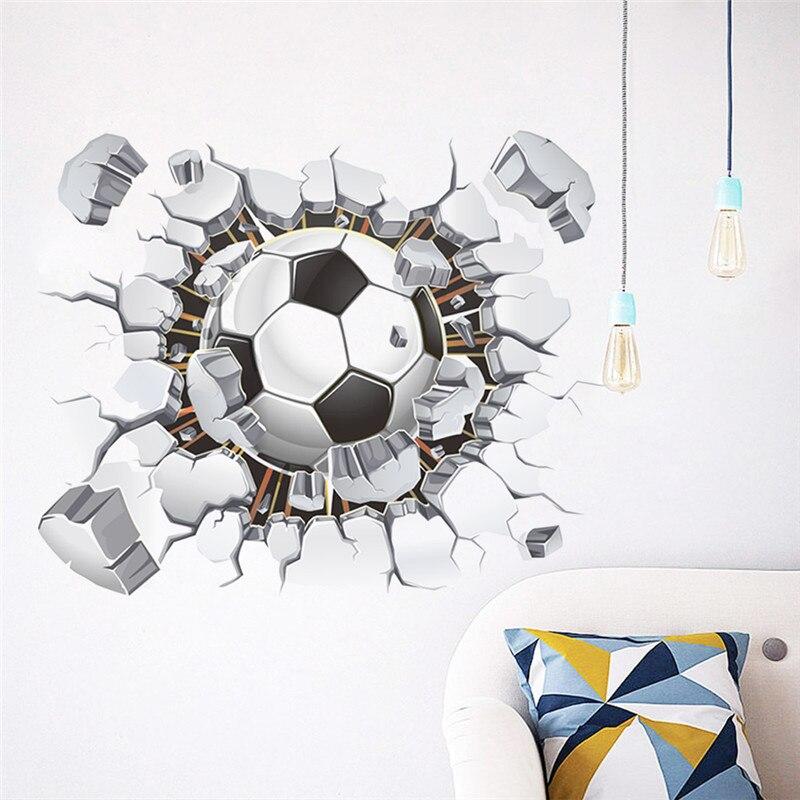 Gebroken Muur Voetbal 3d Vivid Muurstickers Voor Kinderen Kamers Home Decor Art Pvc Behang Diy Poster Muurschilderingen Voetbal Muurstickers