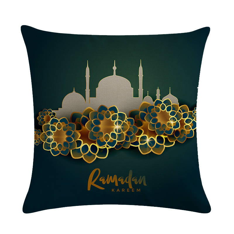 Islam Muslim Pillow Case Sacred Ramadan Cushion Cover Cotton Linen Eid Mubarak Pillow Cover Home Decor Pillowcase Gifts ZY1408