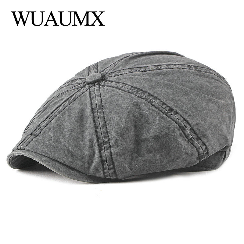 Wuaumx Casual Eight-blade Cap Octagonal Hats For Men Newsboy Caps Painters Hats Cotton Berets Herringbone Flat Caps Gavroche