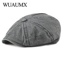 4baef571448a29 Wuaumx Casual Eight-blade Cap Octagonal Hats For Men Newsboy Caps Painters  Hats Cotton Berets