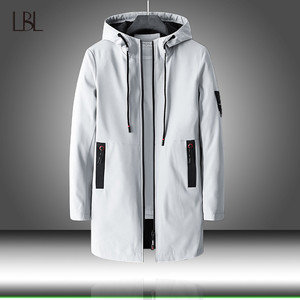 Image 1 - Heren Herfst Casual Lange Jas Trenchcoats Mannen Mode Hooded Solid Elastische Windjack Pocket Geul Jassen Mannelijke Kleding