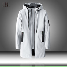 Mens Autumn Casual Long Jacket Trench Coats Men Fashion Hooded Solid Elastic Windbreaker Pocket Trench Jackets Male Clothing