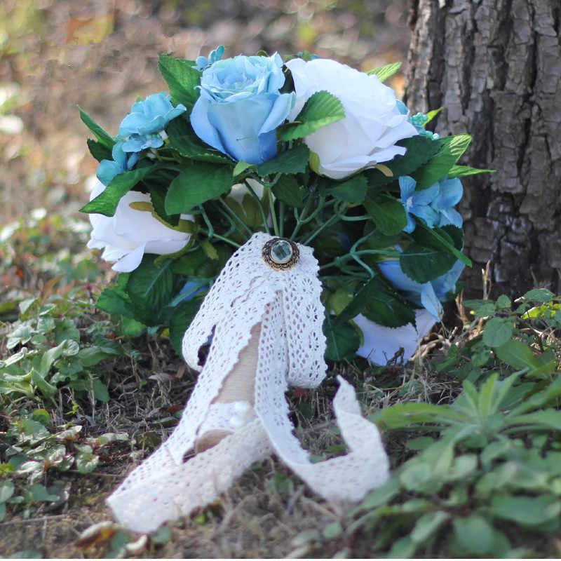 JaneVini ประดิษฐ์ผ้าไหมดอกไม้งานแต่งงาน Bouquets โรแมนติก 2019 สีขาว Rose Bouquet ลูกไม้ Handle เจ้าสาวเข็มกลัดอุปกรณ์เสริม