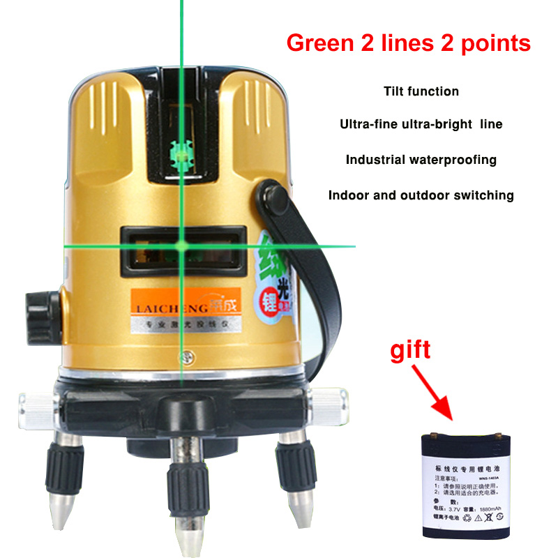 2 Line Green Laser Level Meter Powerful Green Beam Laser Line Self Level 360 Vertical and Horizontal Laser Level Tools kapro laser level laser angle meter investment line instrument 90 degree laser vertical scribe 20 meters
