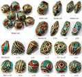 MW-13  Wholesale Nepal Handmade loose Beads,Brass Silk Inlaid Turquoise Coral mix 100beads lot