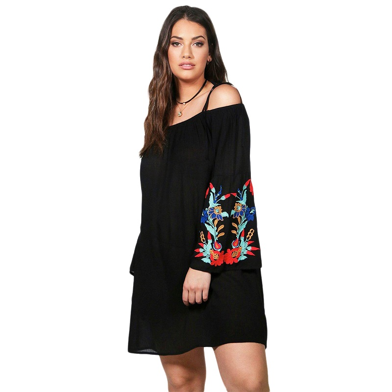 Detail Feedback Questions about plus size autumn western style fashion loose  slash neck long sleeve 3XL 7XL black woman s Casual spaghetti strap dress  on ... 010eb8712b70