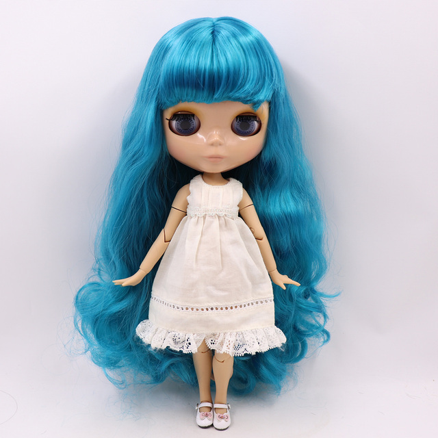 Blyth Doll joint Body Nude 30cm Tan Skin ICY blue Hair with Bangs DIY toy gift No.BL4302 BJD ICY