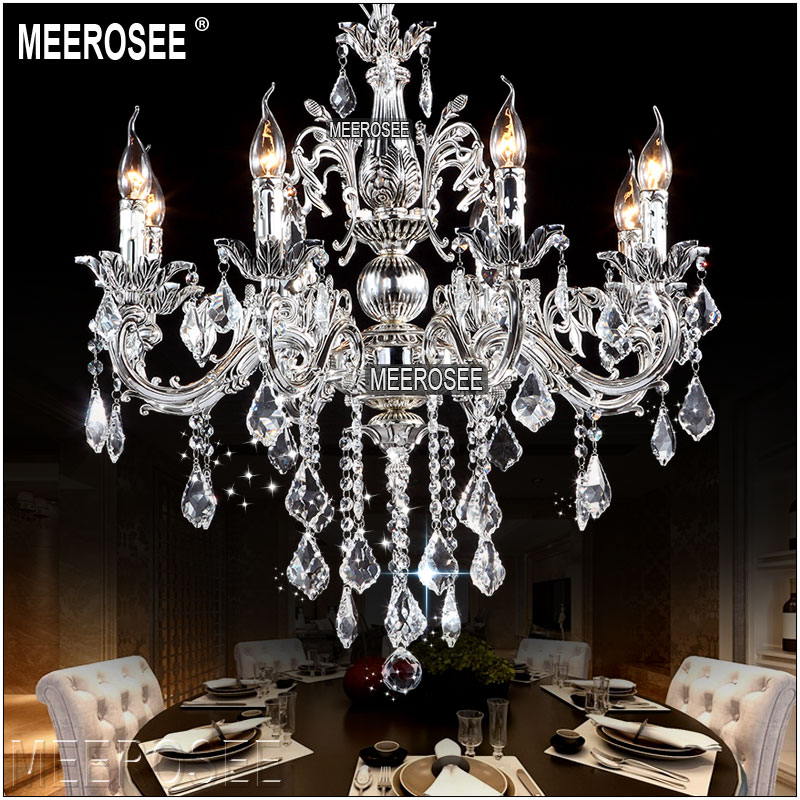 Beautiful Classic Crystal Chandelier Candle Lighting Fixture Golden Or Silver Lustre  Crystal Hanging Lamp MD8861