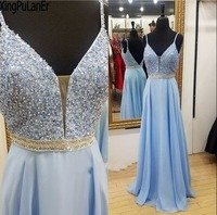 Spaghetti Strap V Neck Spaghetti Strap Beaded Blue Evening Party Gowns Backless Sexy Long Prom Dress Girls vestido de festa