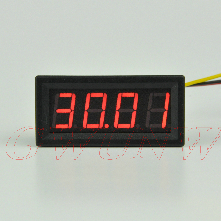 GWUNW BY456V DC 0-30.00V (30V) 4 bit digital voltmeter Panel Meter red blue green 0.56 inch Voltage Tester Meter digital voltmeter dc 4 30v 0 100v 2 3 line digital voltage tester meter blue lcd backlit panel monitor meter