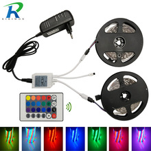RGB 10M 5M LED Strip Fiexible SMD2835 RGB LED Strip Light Waterproof fita Tape,5M/Roll Stripe DC 12V, With Controller+Adapter