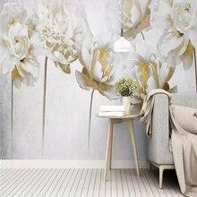 Modern simple garden flowers golden rose background wall