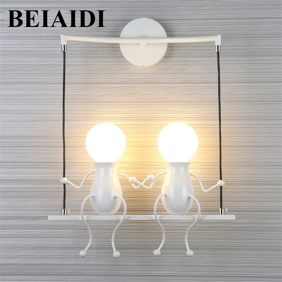 Us 49 98 25 Off Beiaidi Novelty Led Wall Light Fixture Simple Doll Swing Children Lamp Mounted Iron Sconce For Kids Baby Bedroom In