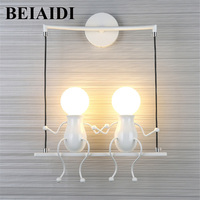 BEIAIDI Novelty LED Wall Light Fixture Simple Doll Swing Children Wall Lamp Mounted Iron Sconce Wall Light for Kids Baby Bedroom