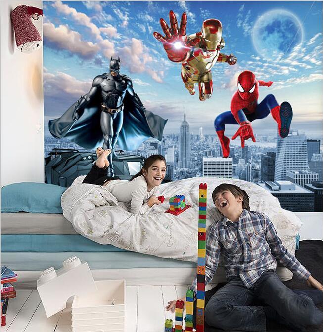 buy 3d photo wallpaper spider man cartoon. Black Bedroom Furniture Sets. Home Design Ideas